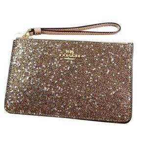 NWT COACH Gold Star Glitter Wristlet Clutch